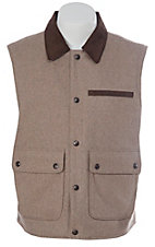 Cripple Creek Men's Heather Oatmeal with Brown Microsuede Trim Wool Vest