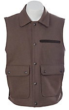 Cripple Creek® Men's Taupe with Brown Microsuede Trim Wool Vest