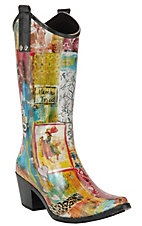 Beehive® Rain Bops™ Ladies Multi Colored Giddy-Up Cowgirl Rain Boots