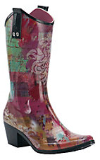 Beehive® Rain Bops™ Ladies Multi Colored Kamille Cowgirl Rain Boots