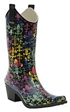 Corky's� Women's Multi Color Fleur De Lis Rodeo Snip Toe Rain Boots