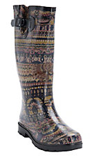 Corky's Women's Aztec Sunshine Multi Color Round Toe Rain Boots