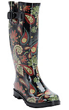 Corky's Women's Paisley Multi Color Rodeo Round Toe Rain Boots