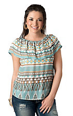 Cattlelac Ranch® Women's Spring Navajo Ruffled Fashion Top