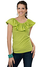 Cattlelac Ranch® Women's Lime Green with Ruffles Short Sleeve Fashion Top