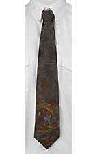Circle S® Grey Bucking Bull Trail Dust Neck Tie