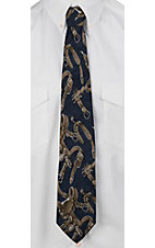 Circle S® Navy with Spurs & Saddles Neck Tie
