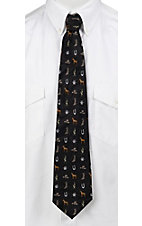 Circle S® Black with Cowboy Elements Neck Tie