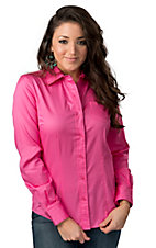 Cruel Girl® Ladies Solid Pink Long Sleeve Western Shirt