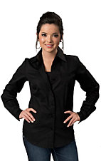 Cruel Girl® Ladies Solid Black Long Sleeve Western Shirt