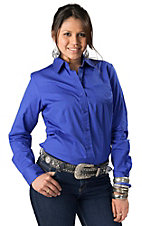 Cruel Girl® Ladies Solid Blue Long Sleeve Western Shirt