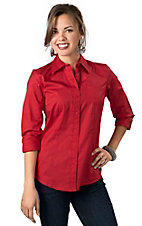 Cruel Girl® Ladies Solid Red Long Sleeve Western Shirt
