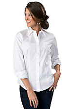 Cruel Girl® Ladies Solid White Long Sleeve Western Shirt