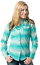Cruel Girl® Women's Turquoise Splattered Dot Print Long Sleeve Western Shirt