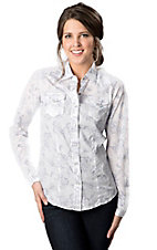Cruel Girl® Women's White with Blue Floral Print and Grey Logo on Back Long Sleeve Western Shirt