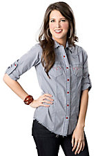 Cruel Girl® Women's White with Blue Stripes and Frayed Edlge Long Sleeve Western Shirt