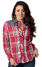 Cruel Girl® Women's Pink and White Plaid with Denim Long Sleeve Western Shirt