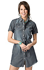 Cruel Girl® Women's Denim with Belt Short Sleeve Shirt Dress
