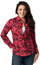 Cruel Girl® Women's Pink with Black Floral Print Long Sleeve Western Shirt
