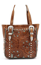 American West® Ladies Everyday Cowgirl Brown & Turquoise Leather with Buckles Handbag