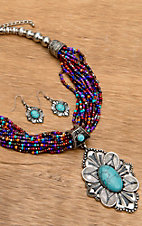Wear N.E. Wear® Multi-Colored Beaded Turquoise and Silver Pendant Necklace Jewelry Set