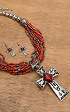 Wear N.E. Wear® Red and Turquoise Beaded and Silver Pendant Necklace Jewelry Set