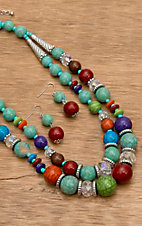 Wear N.E. Wear® Multi-Colored, Turquoise and Crystal Bead Necklace Jewelry Set
