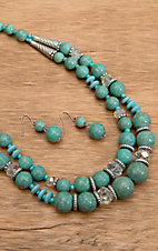 Wear N.E. Wear® Turquoise, Crystal and Silver Bead Necklace Jewelry Set