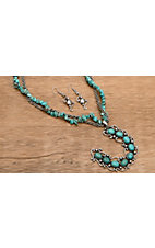 Wear N.E. Wear® Silver and Turquoise Stones Horseshoe Necklace and Earrings Jewelry Set