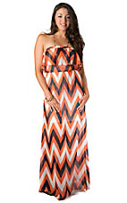 Karlie® Women's Navy Blue, Orange and White Chevron Ruffle Maxi Strapless Dress