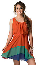 RD Style® Women's Orange, Green, and Blue Chiffon Sleeveless Dress