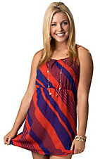 RD Style® Women's Blue and Orange Chiffon Sleeveless Dress
