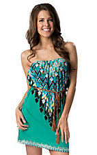 RD Style Women's Green Geometric with Leather Braid Waist Tie Strapless Dress