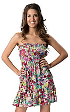 RD Style Women's Multi-Colored Floral Smocked Strapless Dress