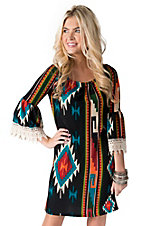 R. Rouge Women's Black with Multicolor Navajo Print 3/4 Bell Sleeves Dress