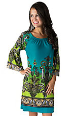 R. Rouge Women's Teal Ombre Paisley Print 3/4 Bell Sleeve Dress