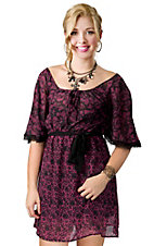 Rock & Roll Cowgirl® Ladies Pink and Black Georgette Print with Lace Flutter Sleeve Peasant Dress