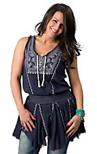 Rock and Roll Cowgirl® Women's Navy Blue and White Stitching with Ruffle Bottom Sleeveless Top