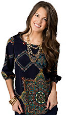 Karlie® Women's Navy Paisley Hi-Lo 3/4 Sleeve Fashion Top