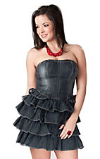 Boom Boom Jeans® Women's Denim Strapless Ruffle Dress