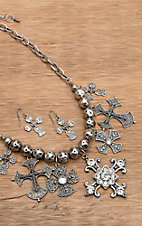 Wear N.E. Wear® Silver Antique Cross and Beads Necklace Fashion Jewelry Set