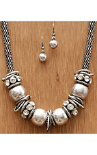 Wear N.E. Wear® Large Silver Beaded w/ Clear Crystals Jewelry Set