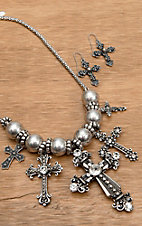Wear N.E. Wear® Silver Antique Rhinestone Cross Necklace Jewelry Set
