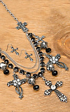 Wear N.E. Wear® Antique Silver Cross and Black Beaded Layered Jewelry Set