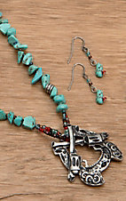Wear N.E. Wear® Turquoise Rocks and Silver Pistols Jewelry Set