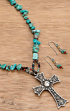 Wear N.E. Wear® Turquoise Rocks and Silver Cross Jewelry Set