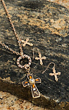 Wear N.E. Wear® Gold Cross Charm Necklace Jewelry Set
