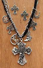Wear N.E. Wear® Silver Texas Cross & Multi Charms Jewelry Set