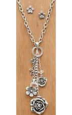 Wear N.E. Wear® Silver Chain w/ Flowers & Crystals Dangle Necklace