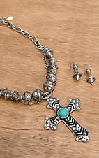 Wear N.E. Wear® Silver, Turquoise and Aztec Beads Necklace Jewelry Set